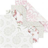 Origamipapir, str. 10x10 cm, 80 g, grønn, grå, lys rød, hvit, 40 ark/ 1 pk.