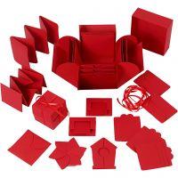 Eksplosjonseske, str. 7x7x7,5+12x12x12 cm, rød, 1 stk.