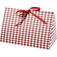 Eske, harlekin mønster, str. 15x7x8 cm, 250 g, rød, hvit, 3 stk./ 1 pk.