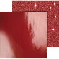 Designpapir, 30,5x30,5 cm, 120+128 g, rød, 2 ark/ 1 pk.