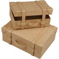 Minikoffert, H: 4,5+5 cm, L: 7.5+10 cm, B: 11+14 cm, 2 stk./ 1 sett
