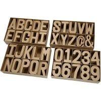 Bokstaver, tall og symboler av papp, H: 20,50 cm, tykkelse 2,5 cm, 160 stk./ 1 pk.