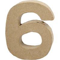 Tall, 6, H: 10 cm, B: 8,2 cm, tykkelse 1,7 cm, 1 stk.