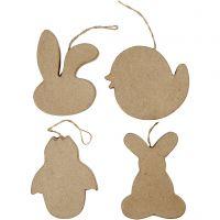 Påskeoppheng, kaninhode, kylling, kylling i egg og hare, H: 10 cm, 4 stk./ 1 pk.