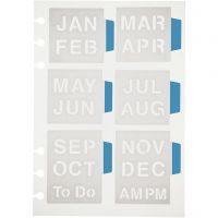 Stencil, måneder, 12,5x17,5 cm, 1 ark