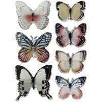 3D Stickers, sommerfugl, str. 26-48 mm, ass. farger, 7 stk./ 1 pk.