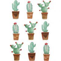 3D Stickers, kaktusser, H: 45 mm, B: 15-26 mm, 9 stk./ 1 pk.