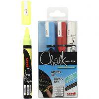 Chalk Marker, strek 1,8-2,5 mm, blå, rød, hvit, gul, 4 stk./ 1 pk.
