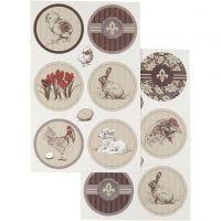 Stickers, 9x14 cm, 4 ass. ark/ 1 pk.
