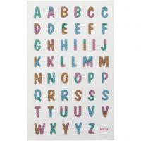 Glitterstickers, bokstaver, 10x16 cm, 1 ark