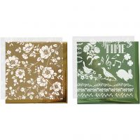 Dekorasjonsfolie og design limark, blomster, 15x15 cm, gull, grønn, 2x2 ark/ 1 pk.