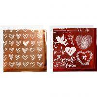 Dekorasjonsfolie og design limark, hjerter og kjærlighet, 15x15 cm, rød, 2x2 ark/ 1 pk.