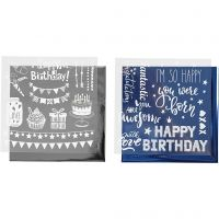 Dekorasjonsfolie og design limark, fødselsdag, 15x15 cm, mørk blå, sølv, 2x2 ark/ 1 pk.