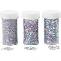 Mini glasskuler, str. 0,6-0,8+1,5-2+3 mm, 3x45 g/ 1 pk.