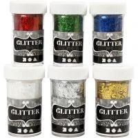 Fiberglitter, metallic farger, 6x20 g/ 1 pk.