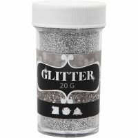 Glitter, sølv, 20 g/ 1 boks