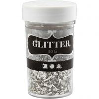 Glitter, str. 1-3 mm, sølv, 30 g/ 1 boks
