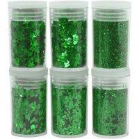 Glitter og paljetter, grønn, 6x5 g/ 1 pk.