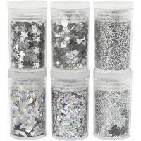 Glitter og paljetter, sølv, 6x5 g/ 1 pk.