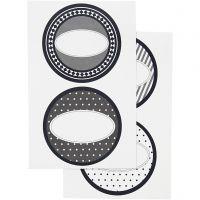 Stickers, dia. 4 cm, 9x14 cm, 4 ass. ark/ 1 pk.