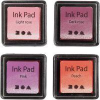 Stempelpute, H: 2 cm, str. 3,5x3,5 cm, Fersken, pink, lys rosa, mørk rosa, 4 stk./ 1 pk.