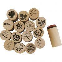 Deco Art stempelsett, blomster og blader, H: 26 mm, dia. 20 mm, 15 stk./ 1 pk.