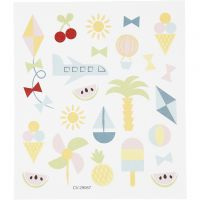 Stickers, sommerferie, 15x16,5 cm, 1 ark