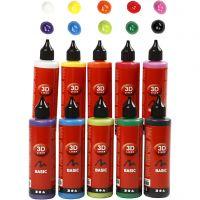 3D Liner, ass. farger, 10x100 ml/ 1 pk.