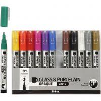 Glass- og porselenstusj, strek 1-2 mm, semi opaque, ass. farger, 12 stk./ 1 pk.