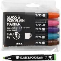 Glass- og porselenstusj, strek 1-3 mm, semi opaque, suppl. farger, 6 stk./ 1 pk.