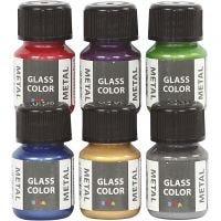 Glass Color Metal, ass. farger, 6x30 ml/ 1 pk.