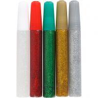 Glitterlim, ass. farger, 5x10 ml/ 1 pk.