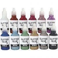 Glitterlim, ass. farger, 12x25 ml/ 1 pk.