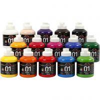 Skole akrylmaling blank, blank, ass. farger, 15x500 ml/ 1 kasse
