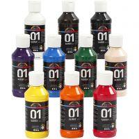 Skole akrylmaling blank, blank, ass. farger, 10x100 ml/ 1 pk.