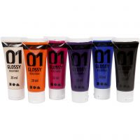 Skole akrylmaling blank, blank, suppl. farger, 6x20 ml/ 1 pk.