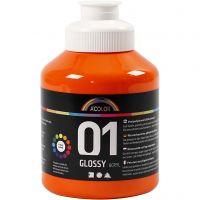 Skole akrylmaling blank, blank, orange, 500 ml/ 1 fl.