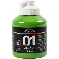 Skole akrylmaling blank, blank, lys grønn, 500 ml/ 1 fl.