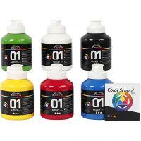 Skole akrylmaling blank, blank, primær farger, 6x500 ml/ 1 pk.