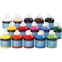 Skole akrylmaling matt, matt, ass. farger, 15x500 ml/ 1 kasse