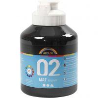 Skole akrylmaling matt, matt, svart, 500 ml/ 1 fl.