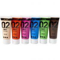 Skole akrylmaling matt, matt, suppl. farger, 6x20 ml/ 1 pk.