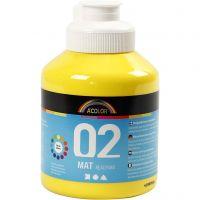 Skole akrylmaling matt, matt, primær gul, 500 ml/ 1 fl.