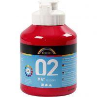 Skole akrylmaling matt, matt, primær rød, 500 ml/ 1 fl.