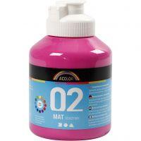 Skole akrylmaling matt, matt, pink, 500 ml/ 1 fl.