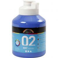 Skole akrylmaling matt, matt, blå, 500 ml/ 1 fl.