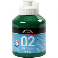 Skole akrylmaling matt, matt, mørk grønn, 500 ml/ 1 fl.