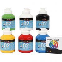 Skole akrylmaling matt, matt, primær farger, 6x500 ml/ 1 pk.
