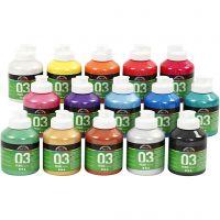 Skole akrylmaling metallic, metallisk, ass. farger, 15x500 ml/ 1 kasse