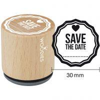 Trestempel, Save the date, H: 35 mm, dia. 30 mm, 1 stk.